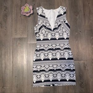 """Black and white """"victorian"""" print cocktail dress"""
